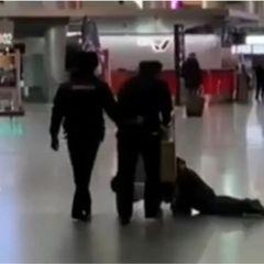 Полицейские перевозили пьяного чиновника на тележке во Внуково
